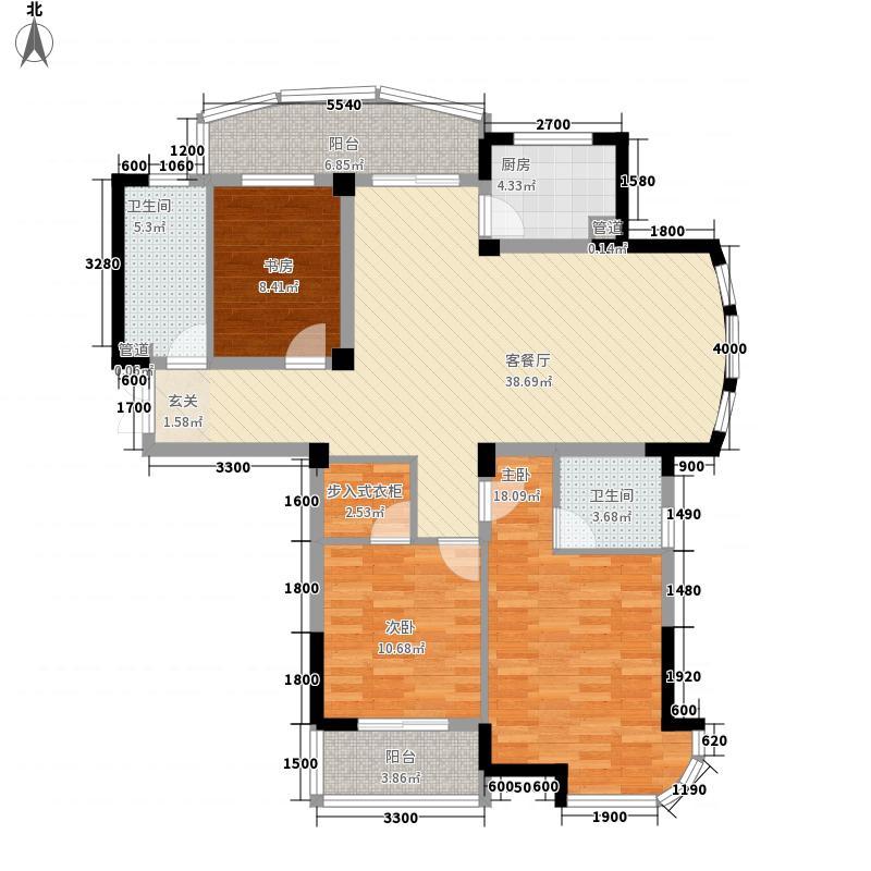 君悦东方136.00㎡H户型3室2厅2卫1厨