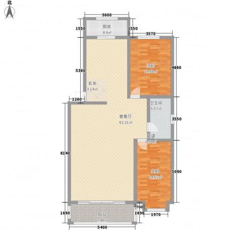 和盛家园2室1厅1卫1厨130.00㎡户型图
