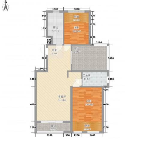 淮北凤凰城2室1厅1卫1厨118.00㎡户型图