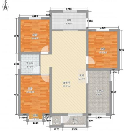 首开・国风海岸3室1厅1卫1厨86.84㎡户型图