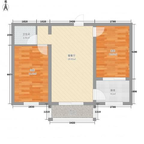 秀水佳园2室1厅1卫1厨74.00㎡户型图
