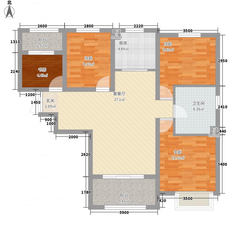秀兰左岸小镇一期11#-B户型3室2厅1卫1厨