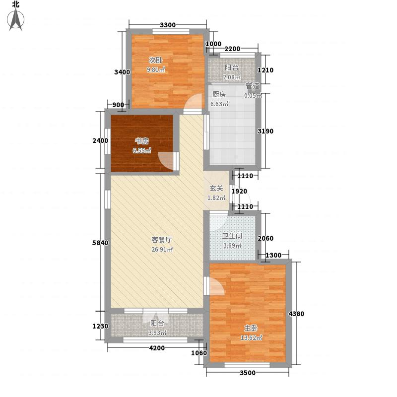首开・国风海岸1.78㎡花园洋房户型3室2厅1卫