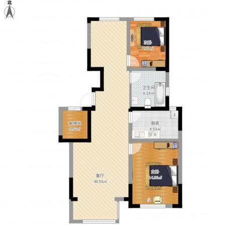 保利拉菲公馆2室1厅1卫1厨114.00㎡户型图