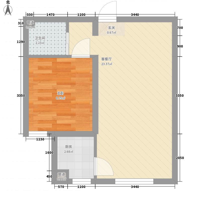 海韵星城53.00㎡A2户型1室1厅1卫1厨