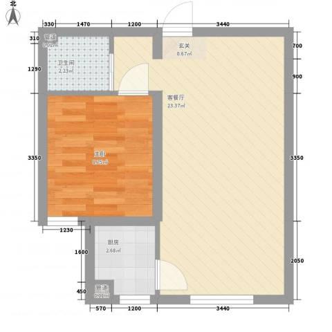 海韵星城1室1厅1卫1厨53.00㎡户型图
