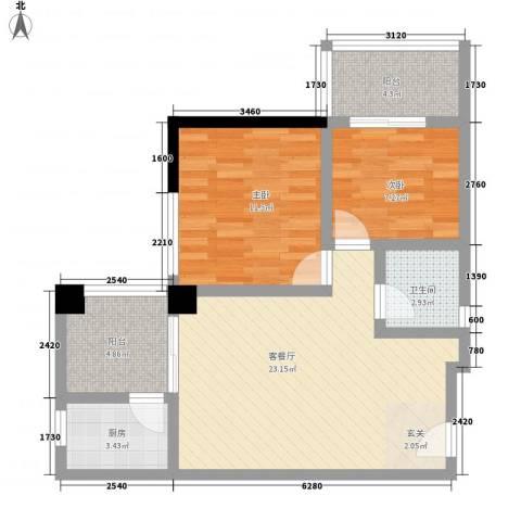 凯信水韵滨江二期公园大帝2室1厅1卫1厨82.00㎡户型图