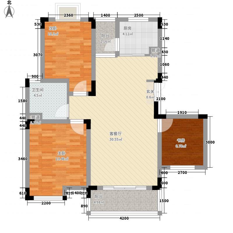 碧龙湾花园7.31㎡F户型3室2厅1卫1厨