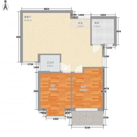 盛世豪庭2室1厅1卫1厨85.00㎡户型图