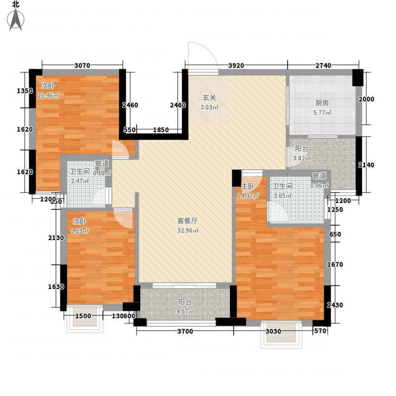 尚品壹号18.23㎡一期5座2梯2~9层03户型3室2厅2卫1厨