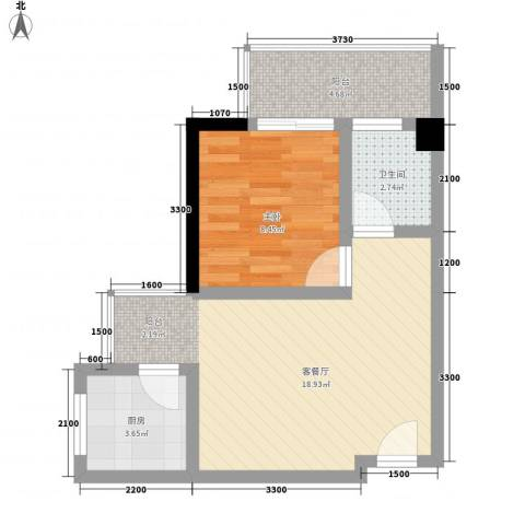 凯信水韵滨江二期公园大帝1室1厅1卫1厨52.00㎡户型图