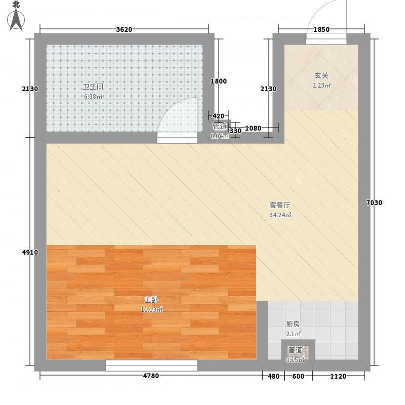 金鼎佰悦4.64㎡C户型1室1厅1卫1厨