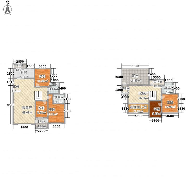 帝景传说192.17㎡帝景传说户型图C3跃层4室2厅3卫1厨户型4室2厅3卫1厨