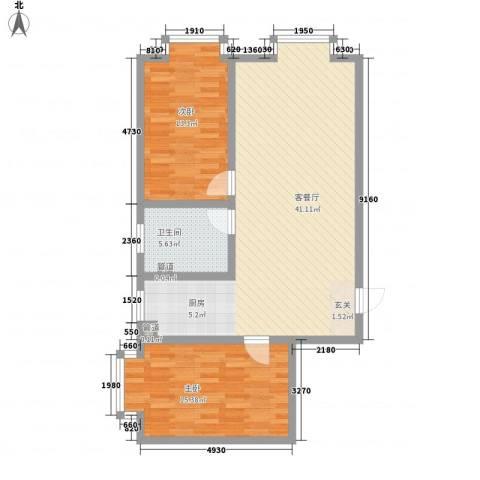 金鼎佰悦2室1厅1卫0厨75.57㎡户型图