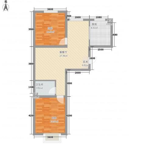 利源帝景2室1厅1卫1厨85.00㎡户型图