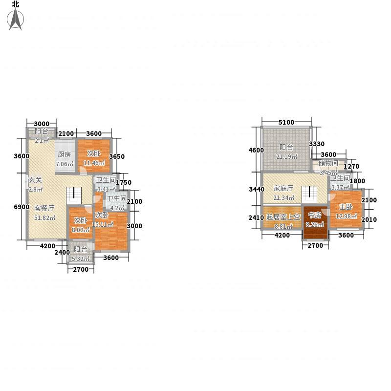 帝景传说182.05㎡帝景传说户型图C10跃层4室2厅3卫1厨户型4室2厅3卫1厨