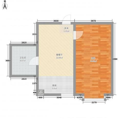 金鼎佰悦1室1厅1卫0厨53.50㎡户型图