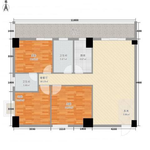 弘林大厦3室1厅2卫1厨136.00㎡户型图