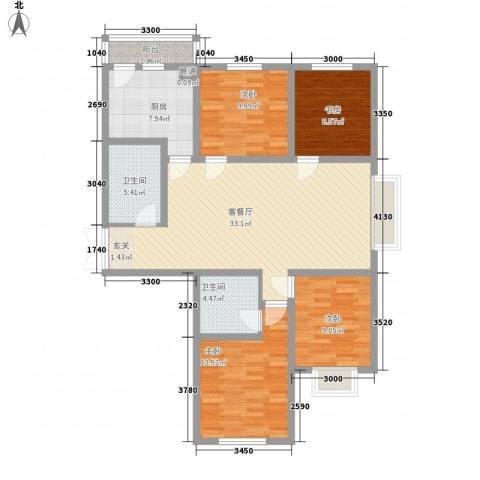瑞合领秀恋恋山城4室1厅2卫1厨135.00㎡户型图