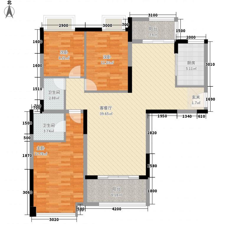 银盛花园银盛花园B2户型3室2厅2卫127㎡户型3室2厅2卫