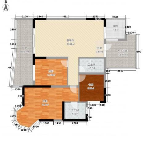 凯信水韵滨江二期公园大帝3室1厅2卫1厨138.00㎡户型图