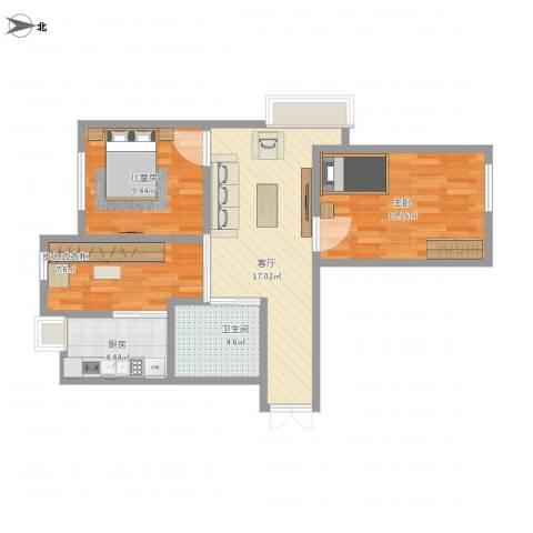 益丰乾城2室1厅1卫1厨88.00㎡户型图