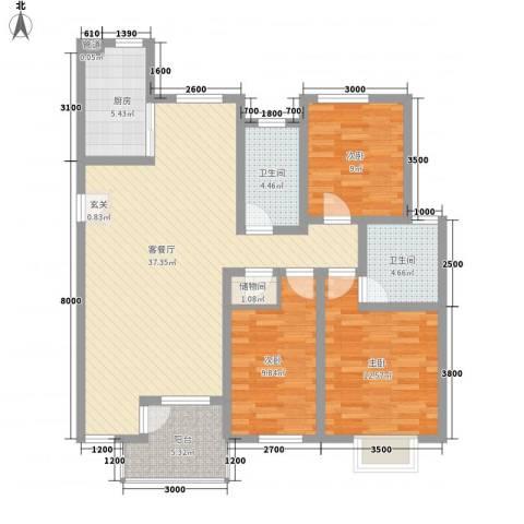 奥林匹克花园3室1厅2卫1厨117.00㎡户型图
