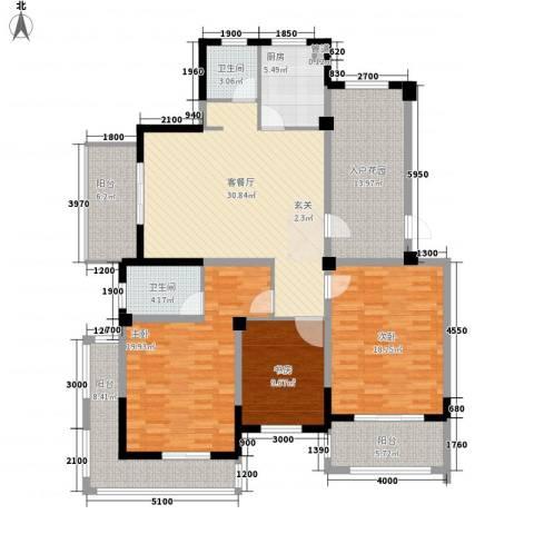江南水岸3室1厅2卫1厨181.00㎡户型图