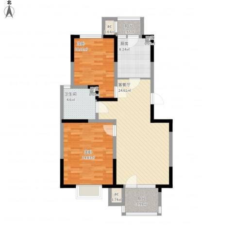 福源九方2室1厅1卫1厨98.00㎡户型图