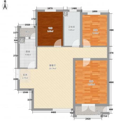 御�豪庭3室1厅1卫1厨83.47㎡户型图