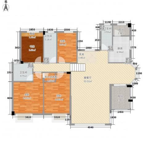 弘基书香园4室1厅3卫1厨177.00㎡户型图