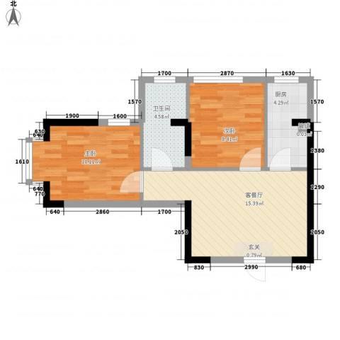 长安长盛新村2室1厅1卫1厨61.00㎡户型图