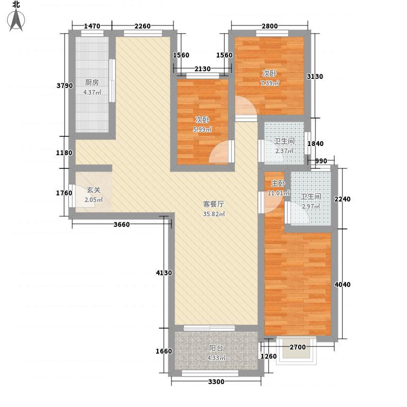 金色龙湾1311.20㎡户单-户型3室2厅2卫1厨