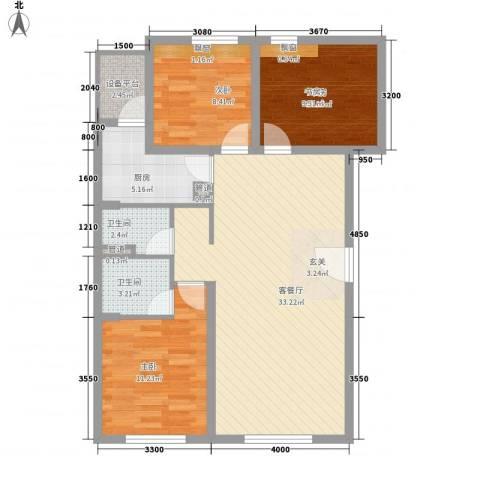 帕克峰景3室1厅2卫1厨76.47㎡户型图