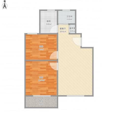 控江一村2室2厅1卫1厨68.00㎡户型图