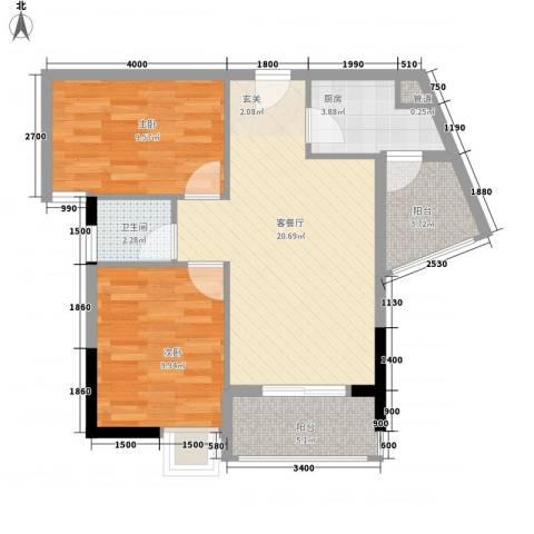 天喜东方2室1厅1卫1厨74.00㎡户型图