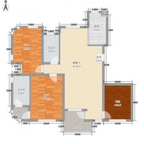 奥林匹克花园3室1厅2卫1厨125.00㎡户型图