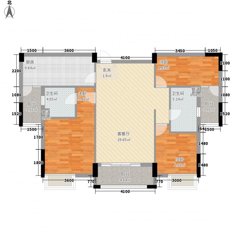 尚品壹号12.47㎡一期2座1梯2~9层02户型3室2厅2卫1厨