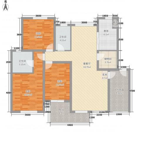 奥林匹克花园3室1厅2卫1厨128.00㎡户型图