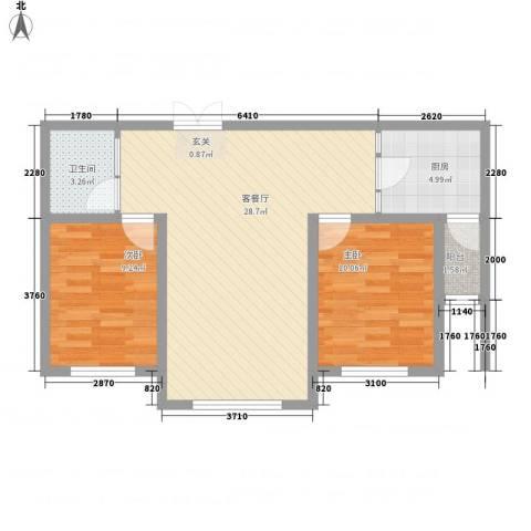 瑞合领秀恋恋山城2室1厅1卫1厨85.00㎡户型图