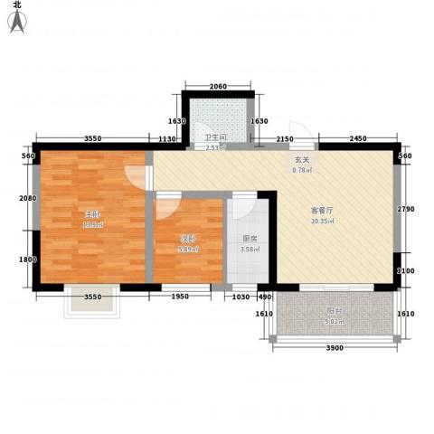 明泽园2室1厅1卫1厨76.00㎡户型图