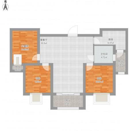 香堤雅郡3室1厅1卫1厨126.00㎡户型图