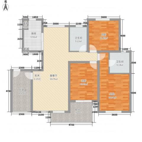 奥林匹克花园3室1厅2卫1厨126.00㎡户型图