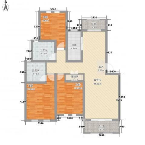 衡山城3室1厅2卫1厨105.60㎡户型图