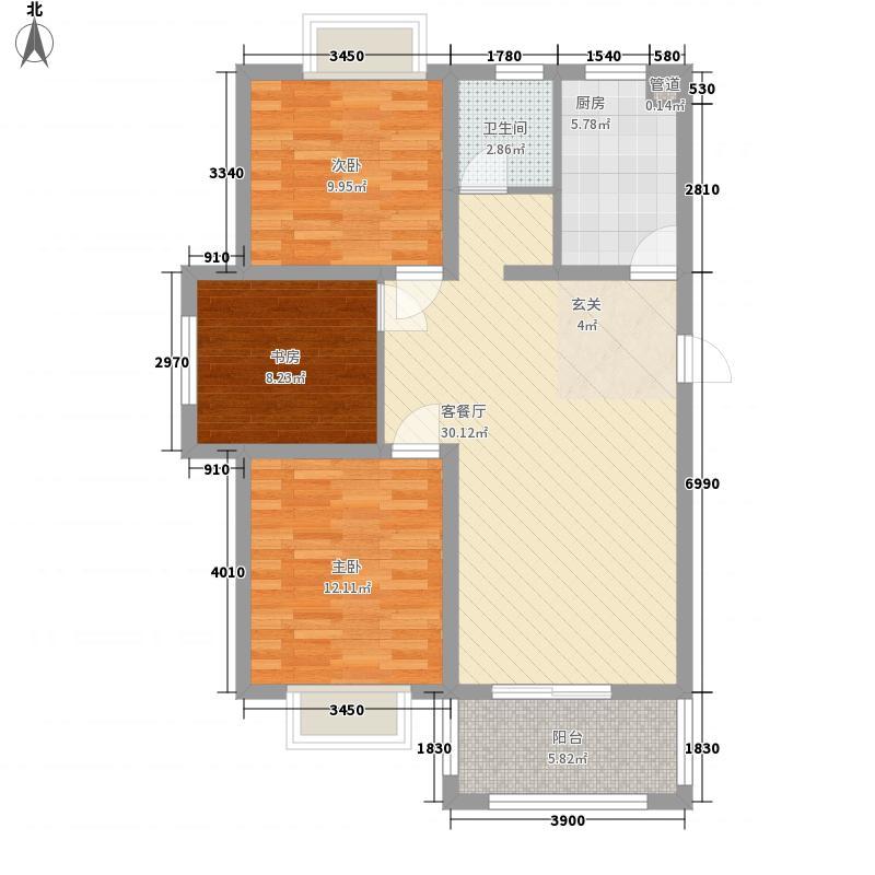 润地星城1.30㎡C户型3室2厅1卫1厨