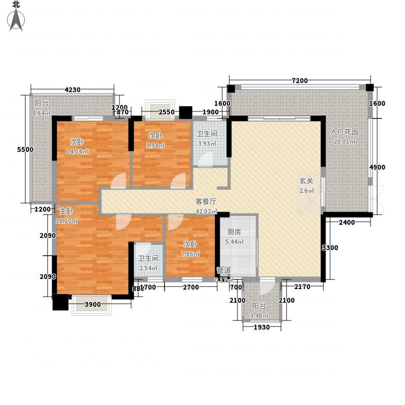 裕达・中央城金典壹号G1-A1户型4室2厅2卫1厨