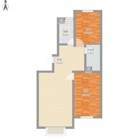 万达嘉园2室1厅1卫1厨103.00㎡户型图