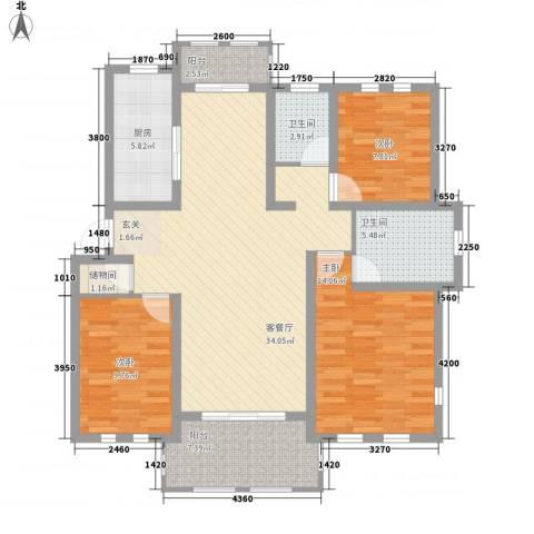 衡山城3室1厅2卫1厨104.80㎡户型图