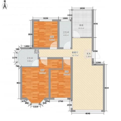 瑞合领秀恋恋山城3室1厅2卫1厨126.00㎡户型图