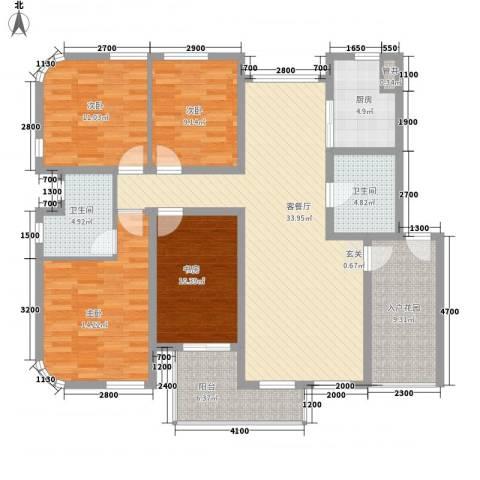 奥林匹克花园4室1厅2卫1厨132.00㎡户型图